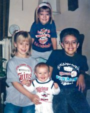 Joey, Krista, Nikki, and Jess dressed up for 1991 World Series