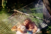 Krista and Jess in backyard hammock (1997)