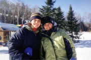 Krista and Megan Skiing (2003)