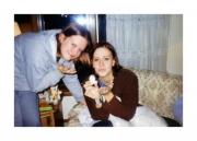 Nikki & Krista blowing Mom kisses (2002)