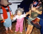 Joey & Krista playing dress-up with Nikki ( 1987)