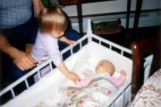 Krista adoring New born Nikki (1986)