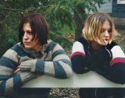 Nikki & Krista Posing at cabin (2003)