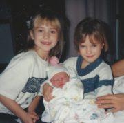 Krista and Nikki when Jess was born (1991)