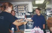 Nikki making cone for Krista at DQ (2003)